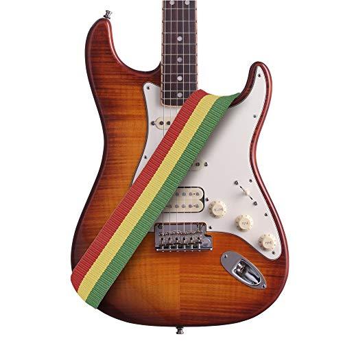 Amumu Reggae Guitar Strap Jamaica Rasta Cotton for Acoustic, Electric and Bass Guitars with Strap Blocks & Headstock Strap Tie - 2