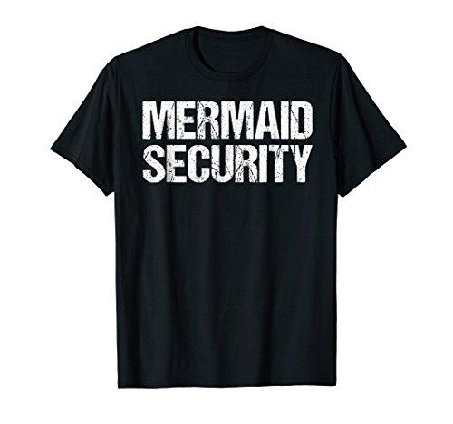 Mens Mermaid Security Shirt Pool Party Dad Gift Daughter Large Black -