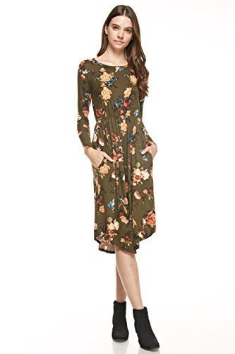 Dresses Dress Floral NeeSee's Cute Olive Roses 8OwfdqY