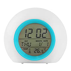 Jorbest Alarm Clock with Cool Natural Sounds Color Changing,Calendar & Indoor Temperature for Adults, Kids & Teens