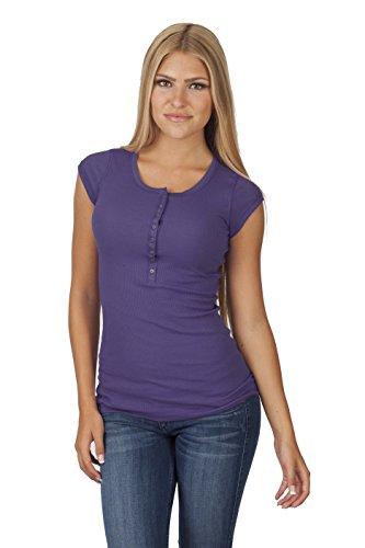 Ribbed Short-Sleeve Henley Shirt (Small, Grape)