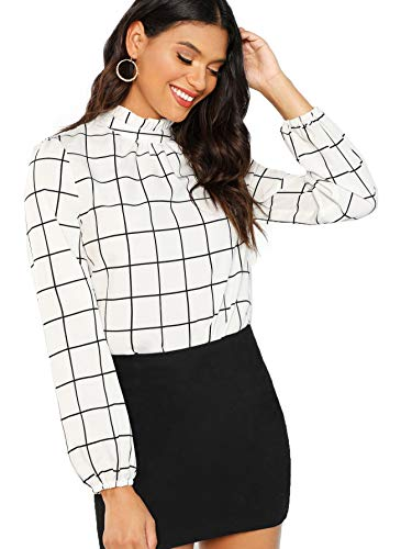 Romwe Women's Elegant Printed Stand Collar Workwear Blouse Top Shirts Black and White - Black White Blouse