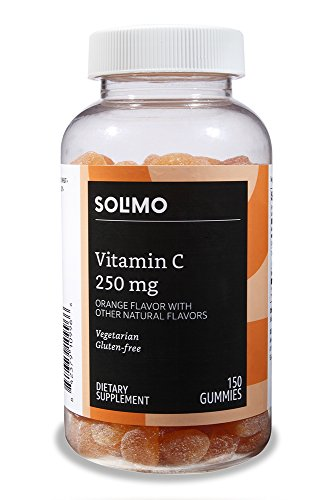 Amazon Brand - Solimo Vitamin C 250mg, 150 Gummies (2 Gummies per Serving)