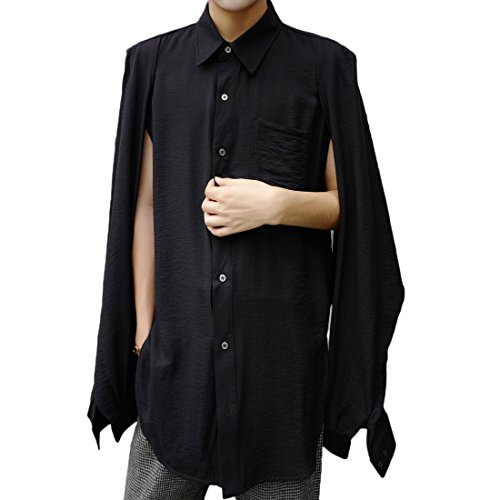 MOKEWEN Men's Poncho Layered Sleeve Two Way Button Shirt Black US X-Large