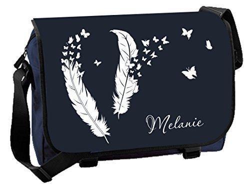Mein Zwergenland Messenger Bag Federn und Schmetterlinge mit Namen, 14 L, Black French Navy / Black
