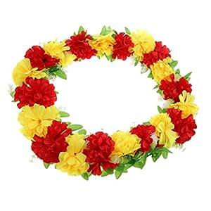Grave Flower Wreath Artificial Chrysanthemum Flower Wreath Funeral Memorial Flower Decoration - Red Yellow 80