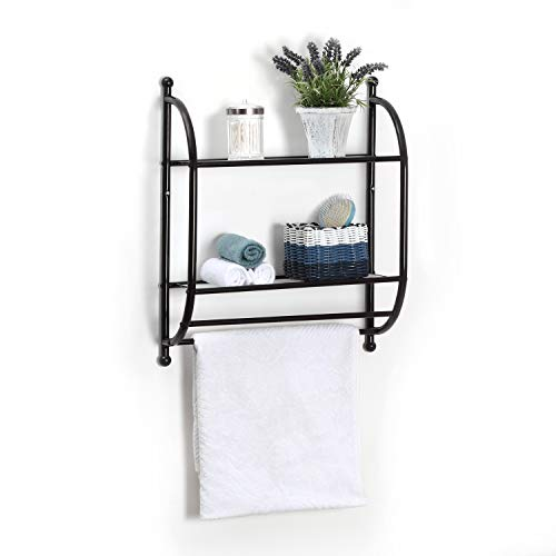 Home Zone 2 Tier Shelf Bathroom Wall Mount Organizer with Tower Bar, Shelf Liner Included, Oil-Rubbed Bronze Finish by Home Zone