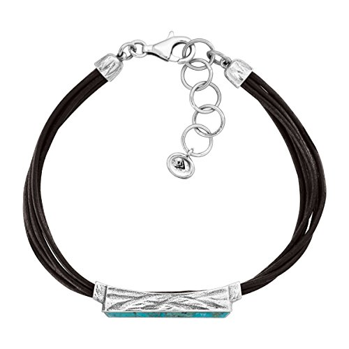 Silpada True Colors Compressed Turquoise Link Bracelet in Genuine Leather and Sterling Silver, 7 1 Extender