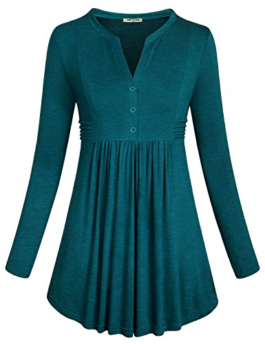 - SeSe Code Christmas Blouse Women's Long Sleeve Flare Hem Cute Ruffle Shirts Fashion Slimming Pleated Front Tunic Tops with Button V Neck for Leggings Dark Cyan XXL