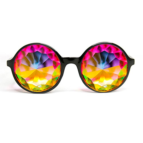 Xtra Lite Black Kaleidoscope Glasses Lightweight Glass Crystal EDM Festival Diffraction