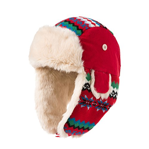 Jacquard color of Lei Feng Cap autumn winter/ thick earmuffs winter hat/ warm ski hat-Red One Size