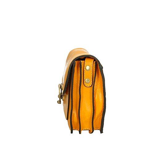 auténtico Hombro Italy in Cm Amarillo bolsa cuero del 25x18x7 Aren Made de hombre Txaaqf