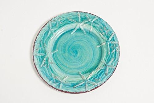Galleyware Turquoise Raised Starfish Melamine Salad/Dessert Plate, Set Of 4