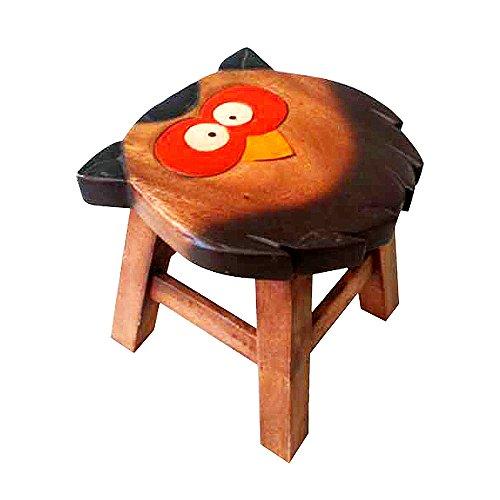 100% Pure Handmade Thai Children Stools Chair Set Kids Gifts (Owl)