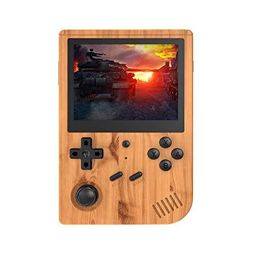 GECBOEY RG351V 레트로 소형 게임 콘솔 5000 | 7000 | 15000 클래식 게임 3.5 인치 IPS 스크린 휴대용 비디오 게임물에 대한 성인 어린이 8-12 90 년대 레트로 장난감(목제 곡물 32G)