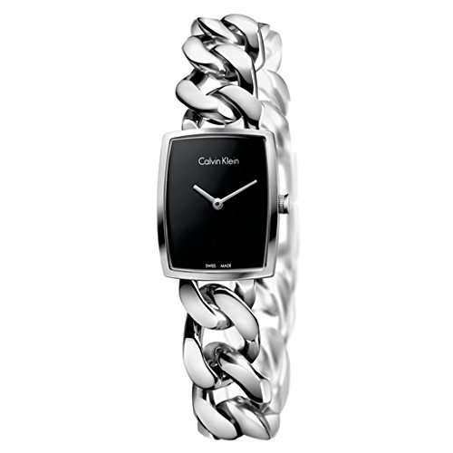 Calvin Klein Womens Stainless Steel Rectangle Watch with Metal Band - Ladies Analog Black Face Luxury Swiss Made Quartz Rectangular Dress Watches For Women K5D2L121 - Calvin Klein Swiss Made