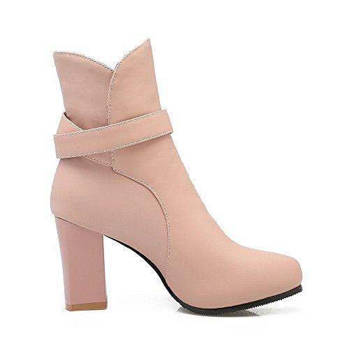 VogueZone009 Damen Spitz Zehe Hoher Absatz Weiches Material Niedrig-Spitze Rein Stiefel Pink