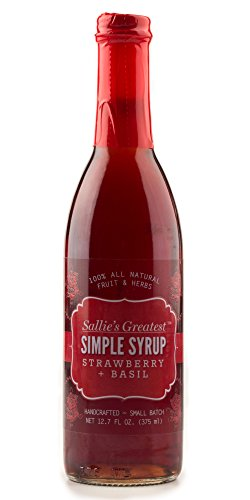 Strawberry Basil flavor 12.7oz Sallie's Greatest Simple Syrup for Cocktails Coffee Shaved Ice Dessert Toppings Pancakes Waffles All Natural (12.7 oz Strwbrry Bsil)