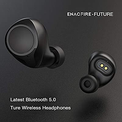Bluetooth 5.0 Wireless Earbuds, ENACFIRE Future Wireless Bluetooth Headphones with 18H Playtime Deep Bass Stereo Sound 50 ft Bluetooth Range Perfect Portable Charging Case, Built-in Mic