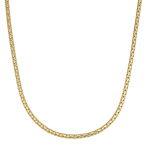 (Kooljewelry Yellow Gold Over Sterling Silver High Polish 2.2 mm Popcorn Chain Necklace (18 inch))