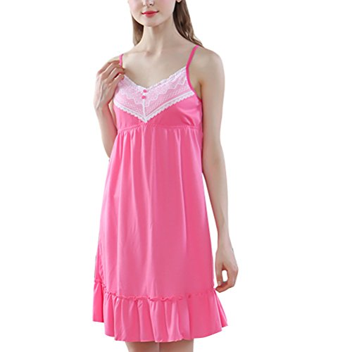 Zhhlinyuan Fashion Womens Cotton Pajama Charming Sleeveless Princess Sleep Skirt Sleepwear Rose Red