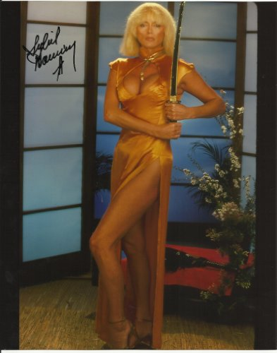 (Sybil Danning hand-signed 8 x 10 photo C of A yellow grown with samurai sword #3)