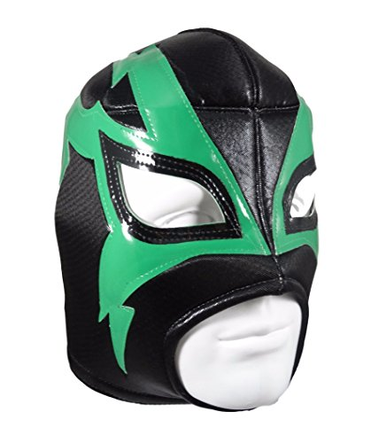 [SHOCKER Adult Lucha Libre Wrestling Mask (pro-fit) Costume Wear - Black/Green] (Custom Wrestling Costumes)