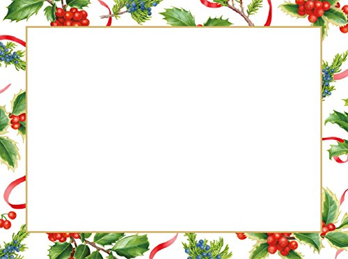 Entertaining with Caspari 87999G Christmas Trimmings Ivory Foil Photo -