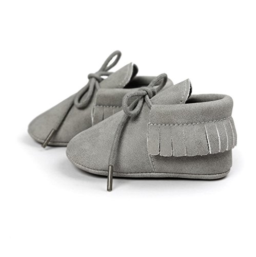 Zapatos de bebé Auxma Baby Soft Sole Anti-Slip Borlas Prewalker Toddler Zapatos Primeros zapatos para caminar Para 3-6 6-12 12-18 mes Gris
