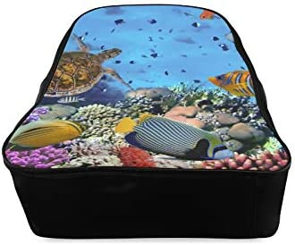 Colorful Coral Reef Fishes Travel Backpack Ladies School Bags Womens Backpack Print Zipper Students Unisex Adult Teens Gift
