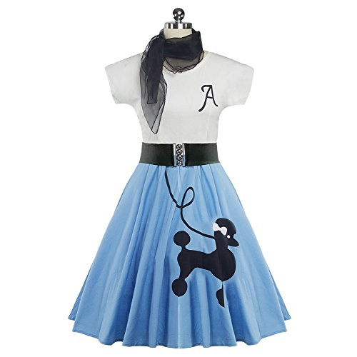 DressLily Retro Poodle Print High Waist Skater Vintage Rockabilly Swing Tee Cocktail Dress,Light Blue,XL