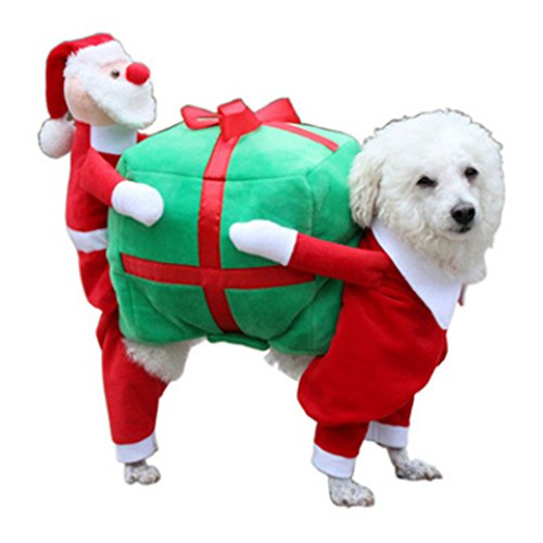 (Aprettysunny Funny Dog Pumpkin Clothes Coat Apparel Warm Halloween Christmas Cosplay)