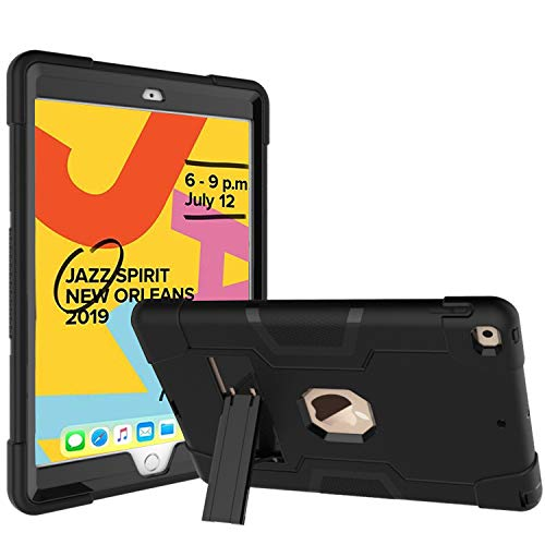 TeeFity New iPad 10.2 2019 Case, iPad 7th Generation Case Kids-Proof Protective Cover with Kickstand for Apple iPad 10.2 Inch 7th Generation 2019 Latest, Black