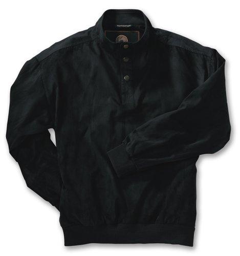 Weatherproof Mens Microsuede Windshirt, Black, Large