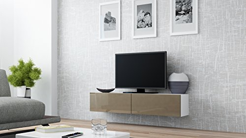 Seattle 65'' NEW TV Stand - High Gloss TV Stand / Media Shelf European Design Hanging Furniture / Hanging TV Stand / Central TV Unit (Latte - White) by Concept Muebles