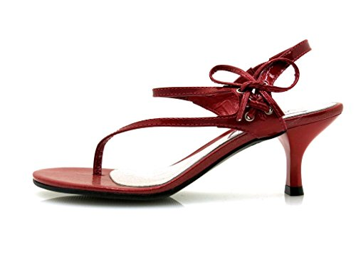 Via Uno Sandalia de la correa del dedo del pie Sandalias Piel charol Zapatos mujer Rojo