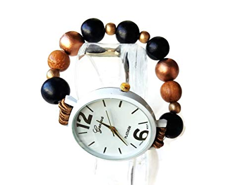 White stretch wooden pearl bracelet watch Elastic band wood bead wristwatch Birthday gift for women