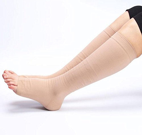 DCCDU Medical Open Toe,Knee High Compression Stockings 20-30mmHg 15-20mmhg For Women & Men,Best Toeless Compression Socks For Swelling,Varicose,Veins,Edema And So On (M, Beige) by DCCDU (Image #3)