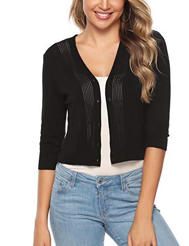 (iClosam Women Knitted Bolero Shrug 3/4 Sleeve Cropped Cardigan Sweater (#3Black(3/4 Sleeve), Small))