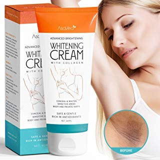 Whitening Cream for Armpits, Intimate Parts, Between Legs - with Collagen - Effective Lightening Cream - Brightens, Nourishes, Moisturizes Underarm, Neck, Knees, Elbows by AsaVea (Best Way To Remove Genital Hair)