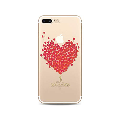 iPhone 8 Plus/iPhone 7 Plus Case, New Edition Clear Soft TPU Protective iPhone 8 Plus/iPhone 7 Plus Case by Fancy Case (Balloon Hearts)