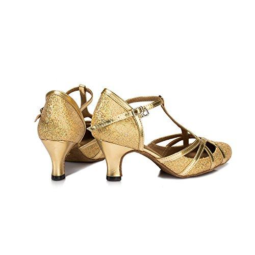Minishion Femmes T-strap Paillettes Salsa Tango Salle De Bal Danse Latine Chaussures Pompes De Mariage Or-6cm Talon