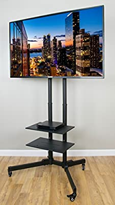 "Eight24hours TV Cart for LCD LED Plasma Flat Panels Stand with Wheels Mobile fits 32"" to 65"" + FREE E-Book"