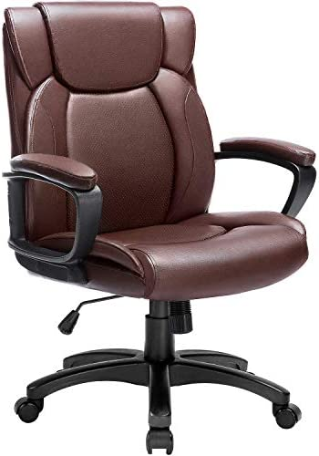 LEMBERI Mid Back Leather Executive Computer Desk Chair Swivel Office Chair