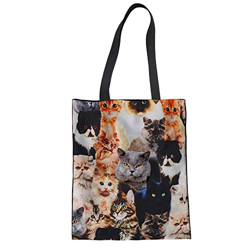 Upetstory Canvas Tote Bag Lovely Cat Animal Print Handbag for College Girls Women Shopping Beach Travel Bag by Upetstory (Image #7)
