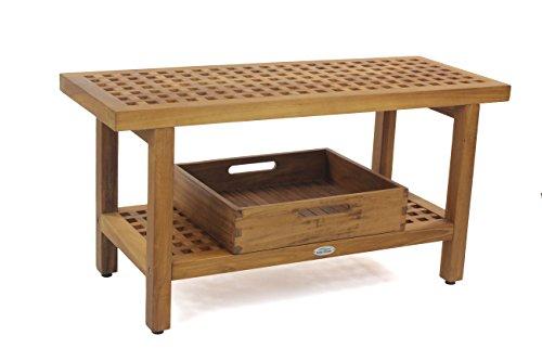 "AquaTeak The Original 36"" Grate Teak Shower Bench With Shelf & Moa Large Tray -  AquaTeak®, 3501"