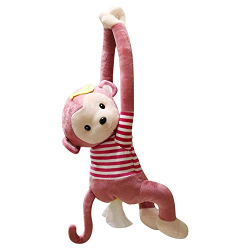 Ymibull Monkey Tissue Box Cartoon Creative Monkey Tissue Box Holder Case Storage Box (Pink)