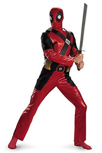 Disguise Men's Marvel Universe Deadpool Adult Costume, Burgandy/Black, (Authentic Deadpool Costume)