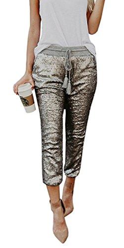 Silver Jogger (Farktop Women's Sexy Solid Sequin Sparkle Drawstring Elastic Waist Pants Joggers Capris Pants)