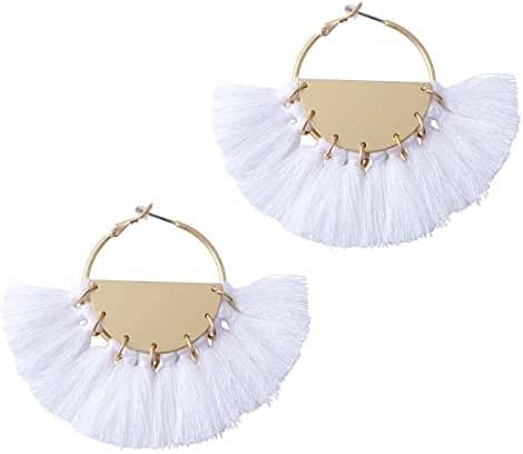 Women Tassel Earrings Gold Hoop Round Jewelry Big Fans White Ring Earrings
